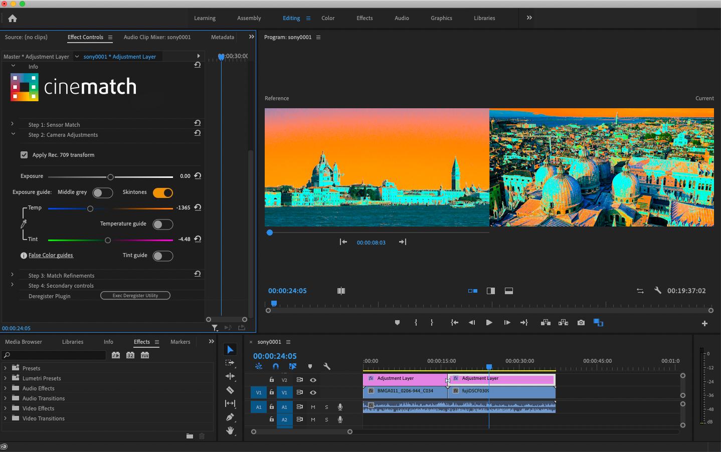 CineMatch in Adobe Premiere Pro false color guide
