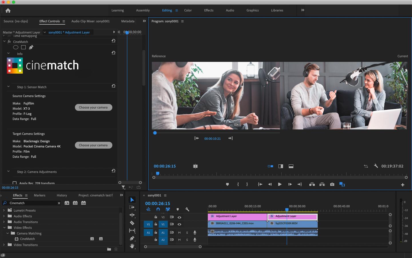 CineMatch in Adobe Premiere Pro comparison view