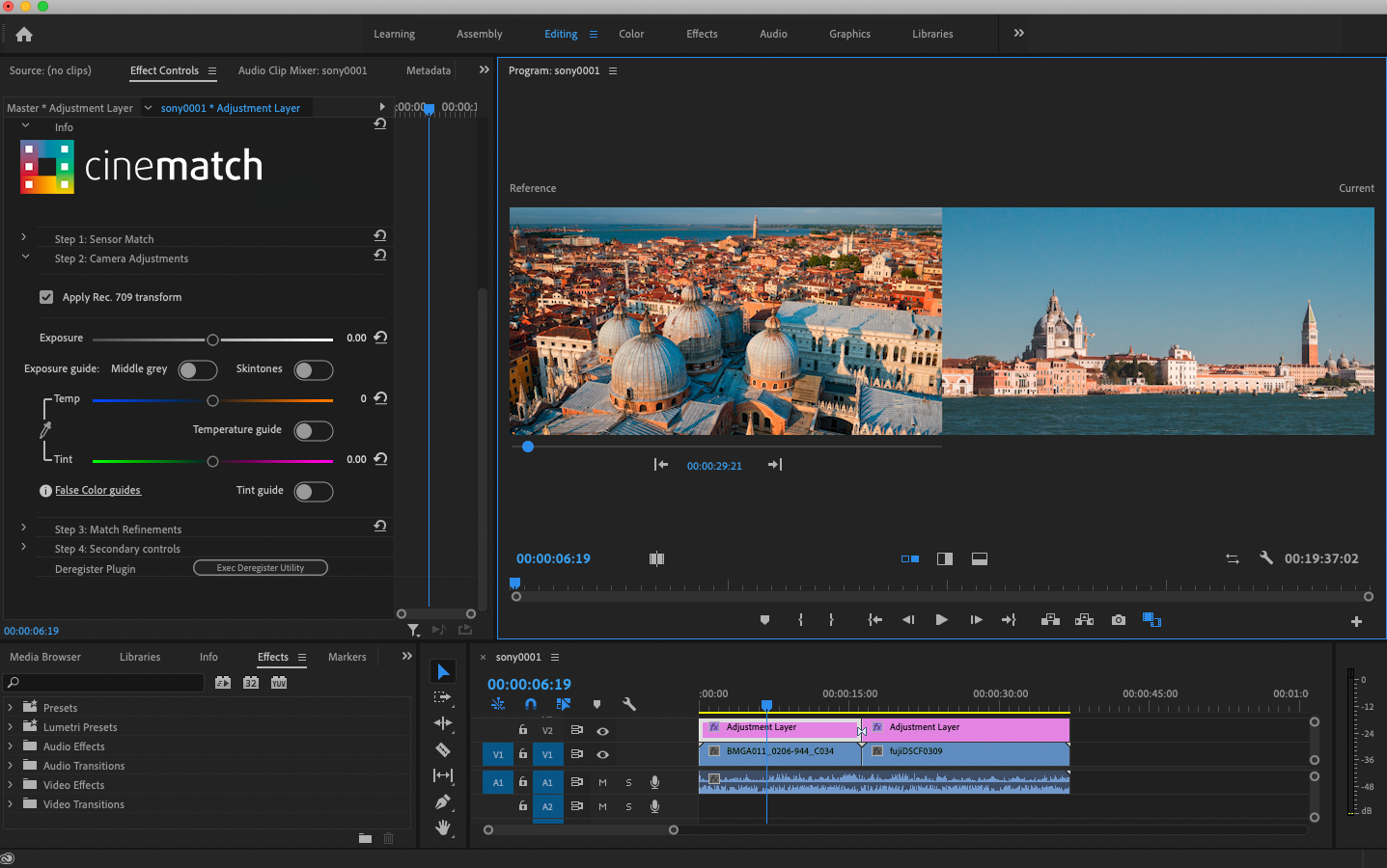 CineMatch in Adobe Premiere Pro primary adjustments
